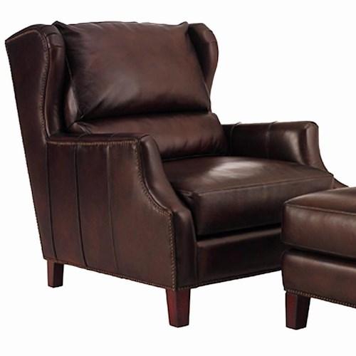 Henredon leather select traditional upholstered chair with for Traditional sofas with legs