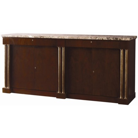 Transitional Buffet with Marble Top and Bronze Posts