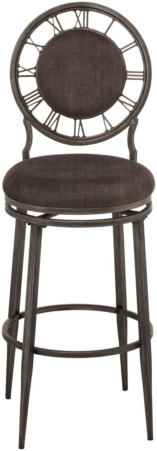 Hillsdale Metal Stools Swivel Counter Stool With Clock Backrest Wilson 39 S Furniture Bar