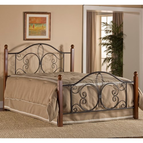 hillsdale metal beds queen milwaukee wood post bed with bed frame boulevard home furnishings. Black Bedroom Furniture Sets. Home Design Ideas
