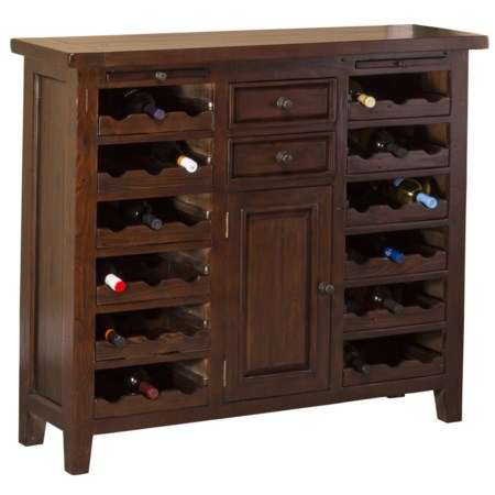 Wine Storage Cabinet with Distressed Finish