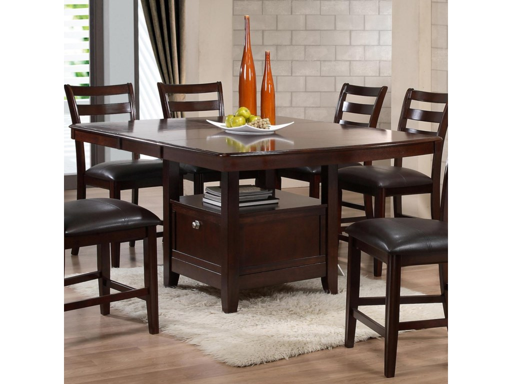 Contemporary pub table elite crystal pub table p jensen for Dining room tables with storage