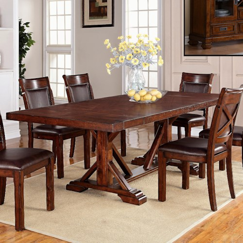 Warehouse m adirondack trestle dining table with two for Dining room table 2 leaves