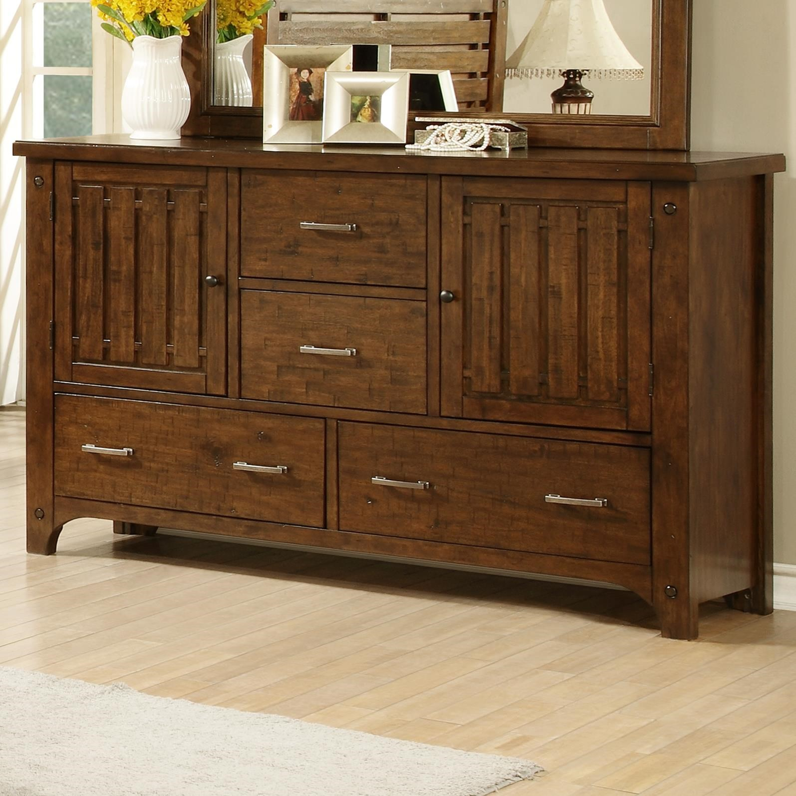Holland House Mustang Slat Drawer Dresser with 2 Doors