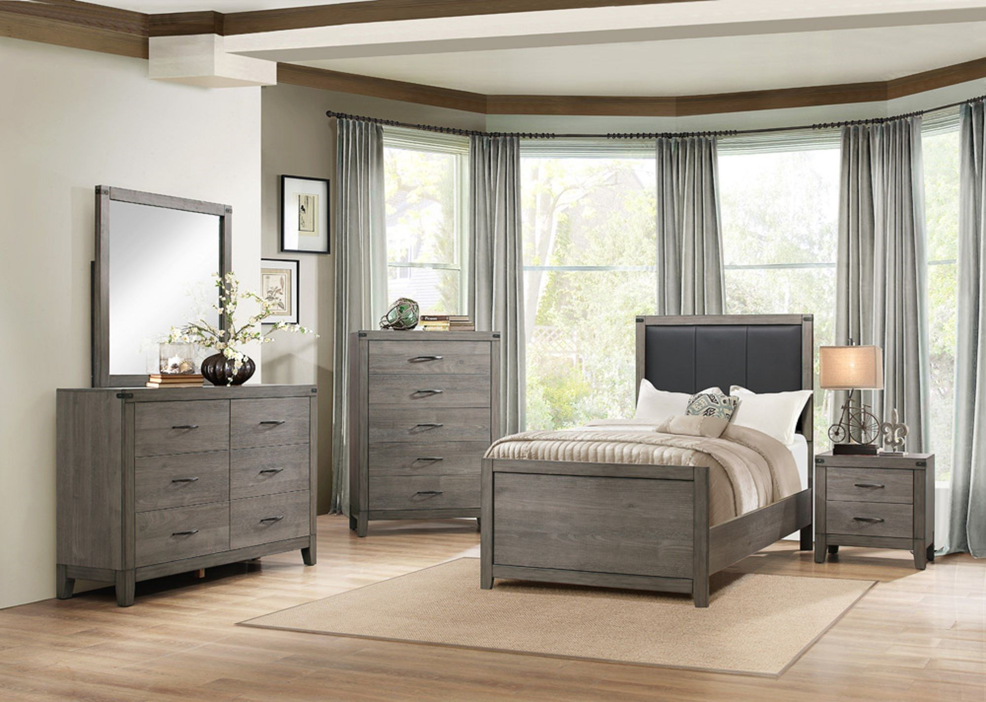 Bedroom Groups: Homelegance 2042 Contemporary Twin Bedroom Group