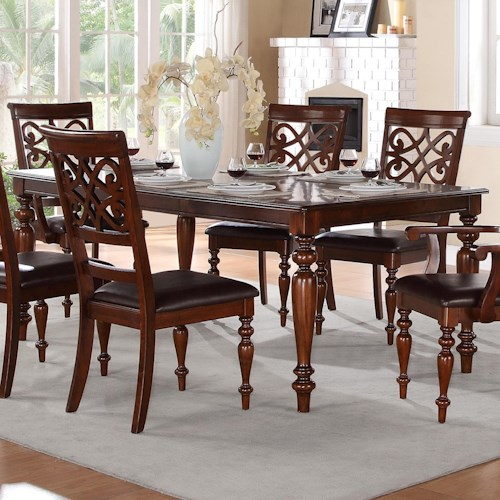 Homelegance Creswell Traditional Formal Dining Table With Turned Legs And Sol