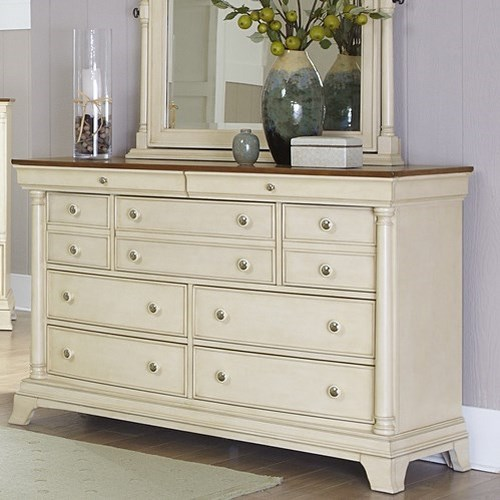 Homelegance Inglewood Cottage 9 Drawer Dresser With Two Tone Finish Boulevard Home Furnishings