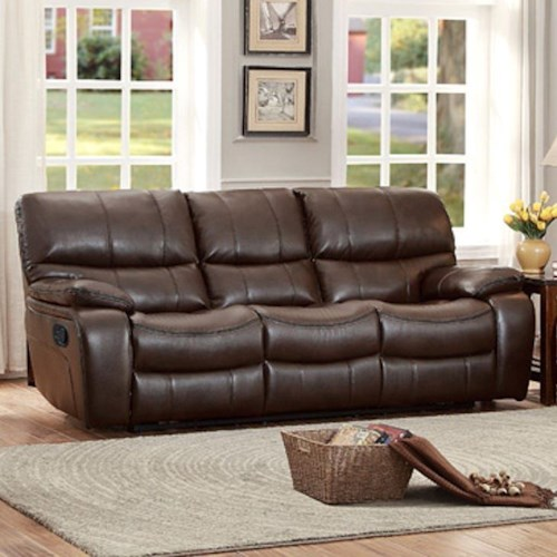 Homelegance pecos 8480brw 3pw casual power reclining sofa for Furniture 0 percent financing