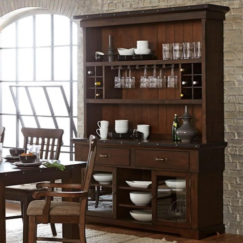 Homelegance Schleiger Industrial Dining Buffet And Hutch With Exposed Rivets And Built In Wine