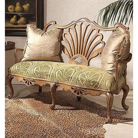 Wood Framed Motif Love Seat
