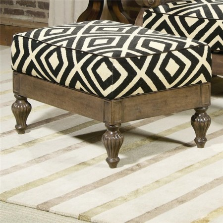 Ottoman with Intricate Carved Feet