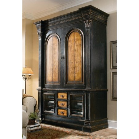 Entertainment Console and Pocket-Door Hutch Combo