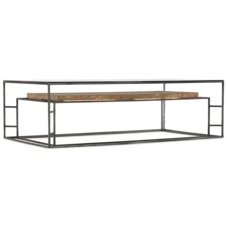 Contemporary Rectangle Cocktail Table with Cork Shelf