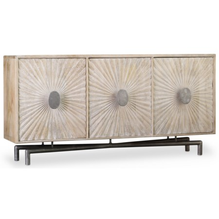 68 Inch Entertainment Console with Shell Textured Door Fronts