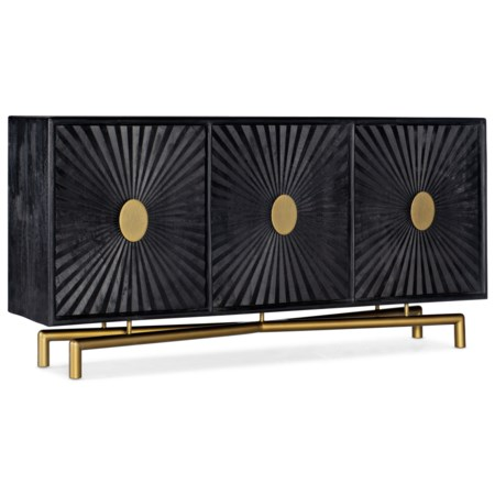 69 Inch Black Transitional Entertainment Console