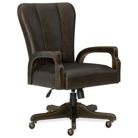 Leather Swivel Desk Chair with Adjustable Seat and Arms