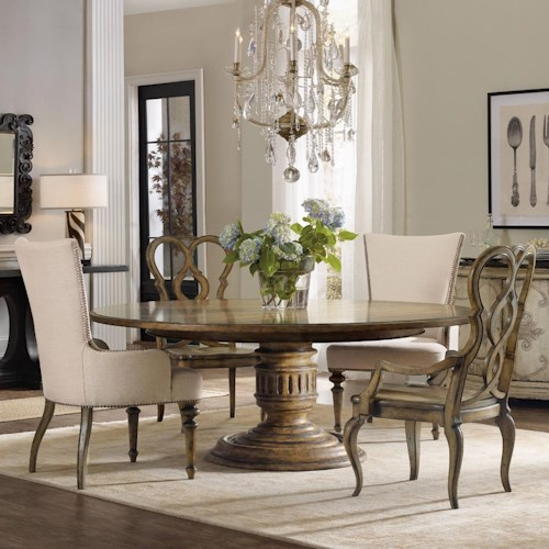Auberose 5 piece dining set with round pedestal table for Dining sets nashville tn