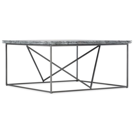 Stone-Metal Cocktail Table with Bluish Gray Marble Top