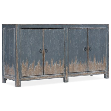 Rustic Four Door Media Console with Distressed Finish