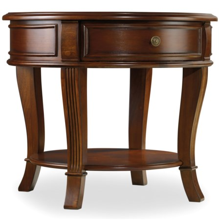 Round End Table with One Drawer