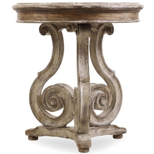 Hooker furniture chatelet scroll pedestal accent table for Table th scroll