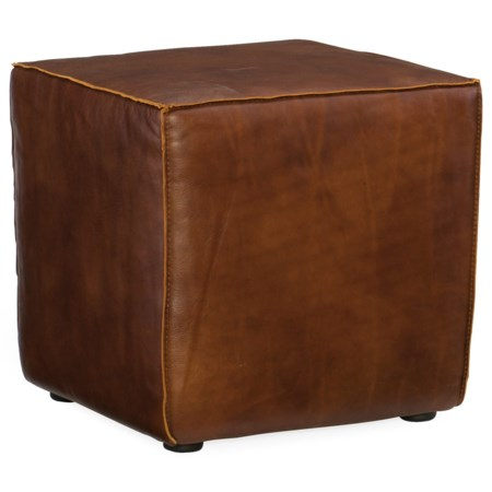 Contemporary Quebert Leather Cube Ottoman
