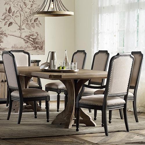 Corsica rectangle pedestal dining table set with for Dining sets nashville tn