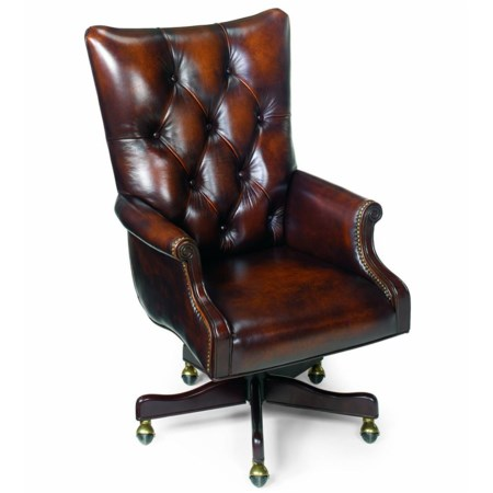 Hand-Wiped Brown Leather Tilt Swivel Chair