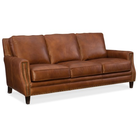 Transitional Leather Stationary Sofa with Nailhead Trim