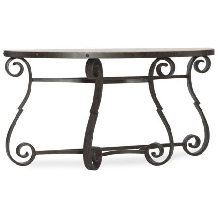 Luckenbauch Metal and Stone Demilune Console