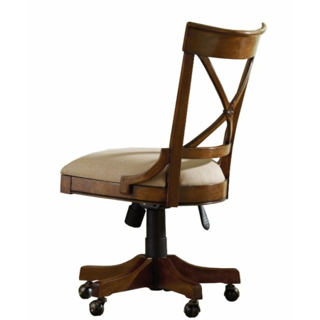 Armless Tilt Swivel Chair with Decorative X-Back and Seat Height Adjustment