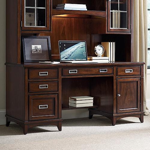 Hooker furniture latitude walnut computer credenza lindy for Furniture 500 companies