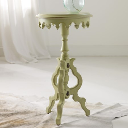 Mollie Accent Table with Teardrop Apron and Decorative Base