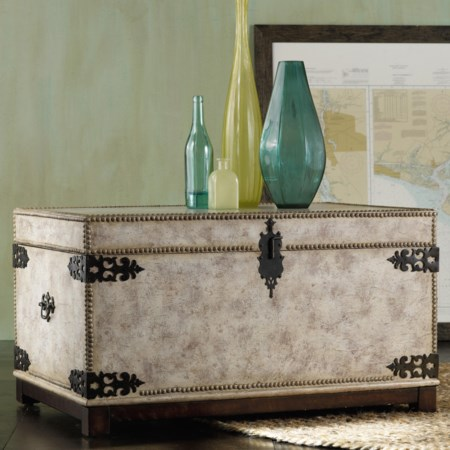 Antique Linen Trunk with Hinged Lift Lid, Nailhead Trim and Metal Corner Caps