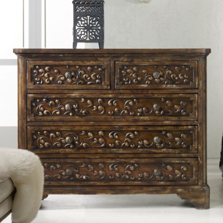 Brighton Hand Carved Chest of 5 Drawers
