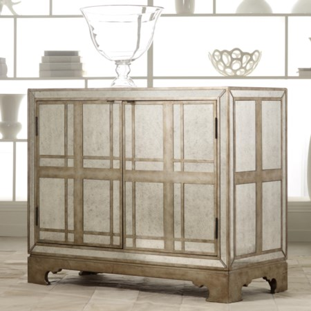 Mirrored Plaid Door Chest with Wine Storage