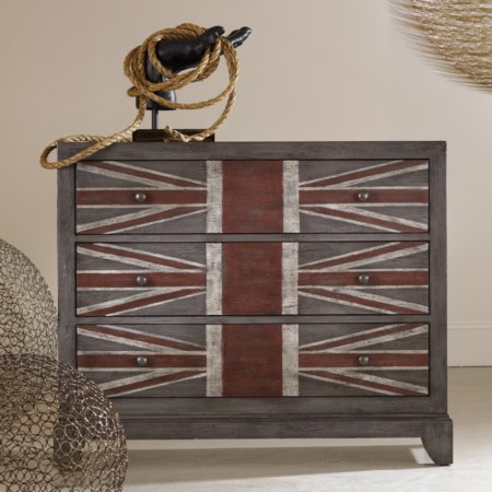 Union Jack 3-Drawer Chest with Painted Flag Front