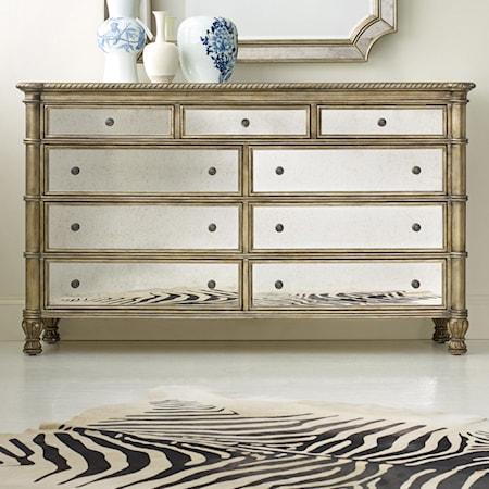 Montage 9 Drawer Dresser with Antique Mirror Insets
