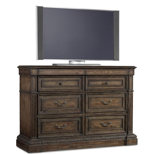 Hooker furniture rhapsody eight drawer media chest with for Furniture 500 companies