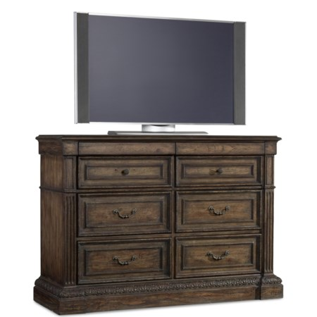 Eight Drawer Media Chest with Felt Lined Jewelry Storage and Cedar Lined Bottom Drawers