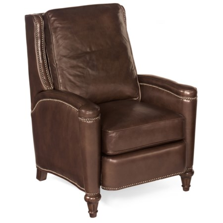 Traditional Leather Push Back Recliner with Nailhead Studs