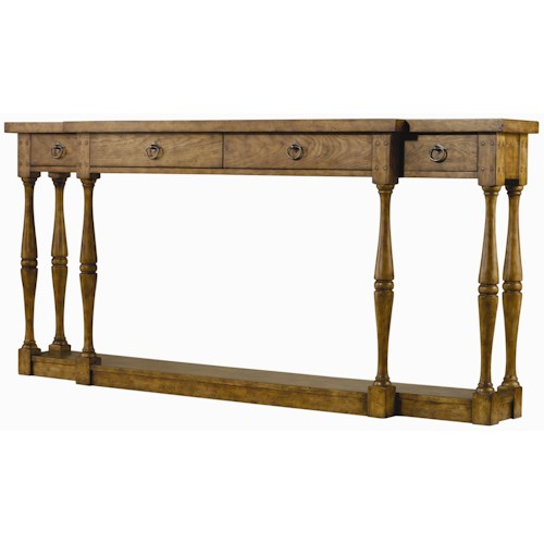 Hooker furniture sanctuary three drawer thin console table for Thin sofa table