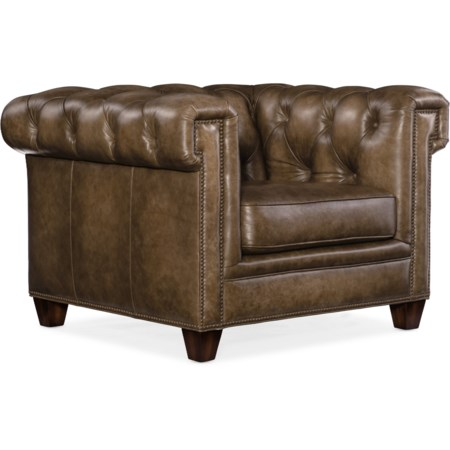 Transitional Chesterfield Chair with Track Arms and Nailheads