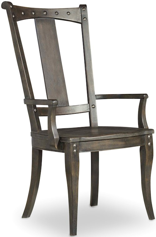 Hamilton home vintage west splatback arm chair with for Furniture 0 percent financing