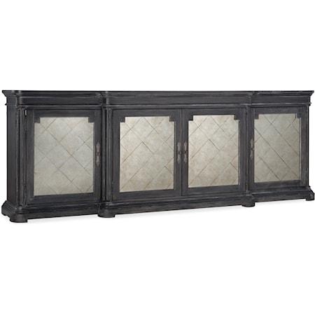 Traditional 4-Door Credenza with 6 Adjustable Shelves
