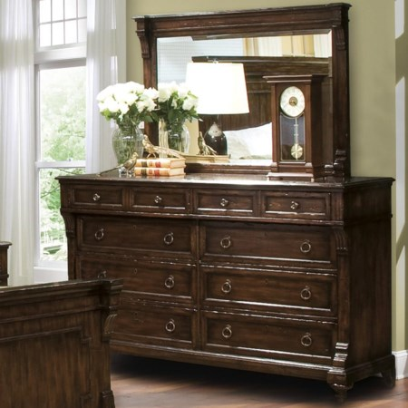 Eight-Drawer Dresser with Felt & Cedar Lined Drawers with Beveled Landscape Mirror Combination