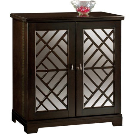 Barolo Console Wine & Bar Cabinet with Mirrored Door Panels