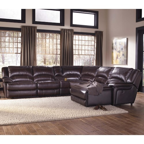 Htl t118 casual reclining leather sectional sofa with for Htl sectional leather sofa