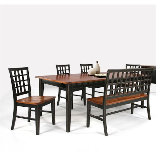 Intercon Arlington Dining Table With Lattice Back Bench 4 Side Chairs Rife 39 S Home Furniture