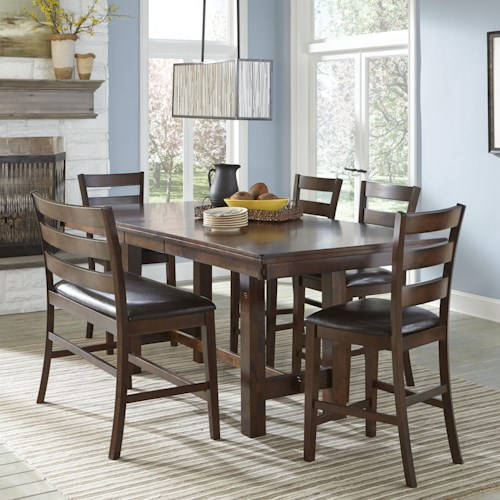 intercon kona counter height dining set with bench wilson 39 s furniture table chair set with. Black Bedroom Furniture Sets. Home Design Ideas